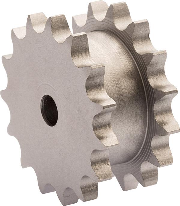 Doppelkettenradscheibe für den Einsatz von zwei Simplex-Rollenketten